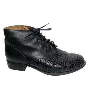 Ariat   Black Leather Woven Detail Lace Up Booties